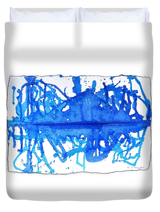 Water Variation Duvet Cover featuring the painting Water Variations 11 by Rozita Fogelman