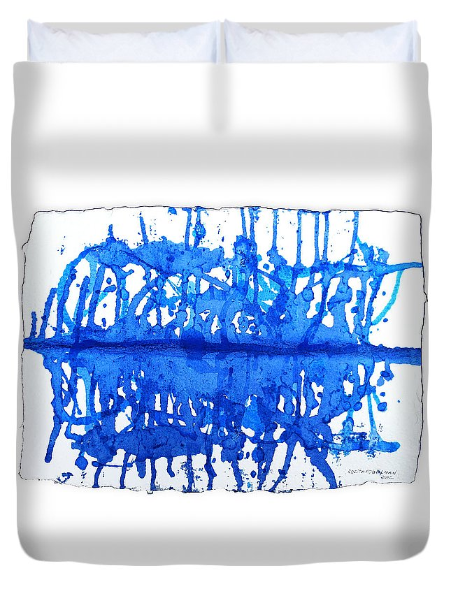 Water Variation Duvet Cover featuring the painting Water Variations 12 by Rozita Fogelman