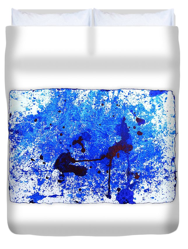 Water Variation Duvet Cover featuring the painting Water Variations 16 by Rozita Fogelman
