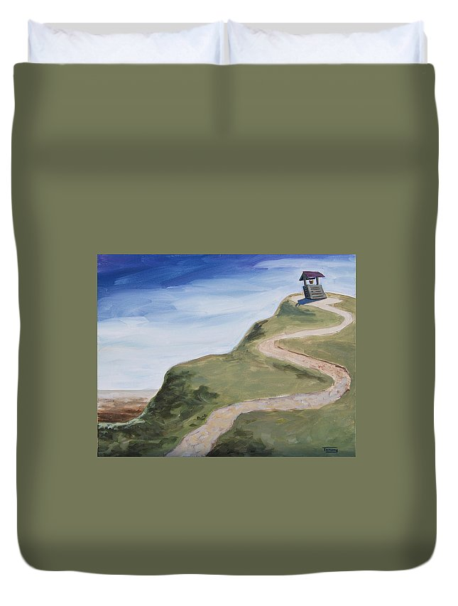 Water Duvet Cover featuring the painting Water Well by Tommy Midyette