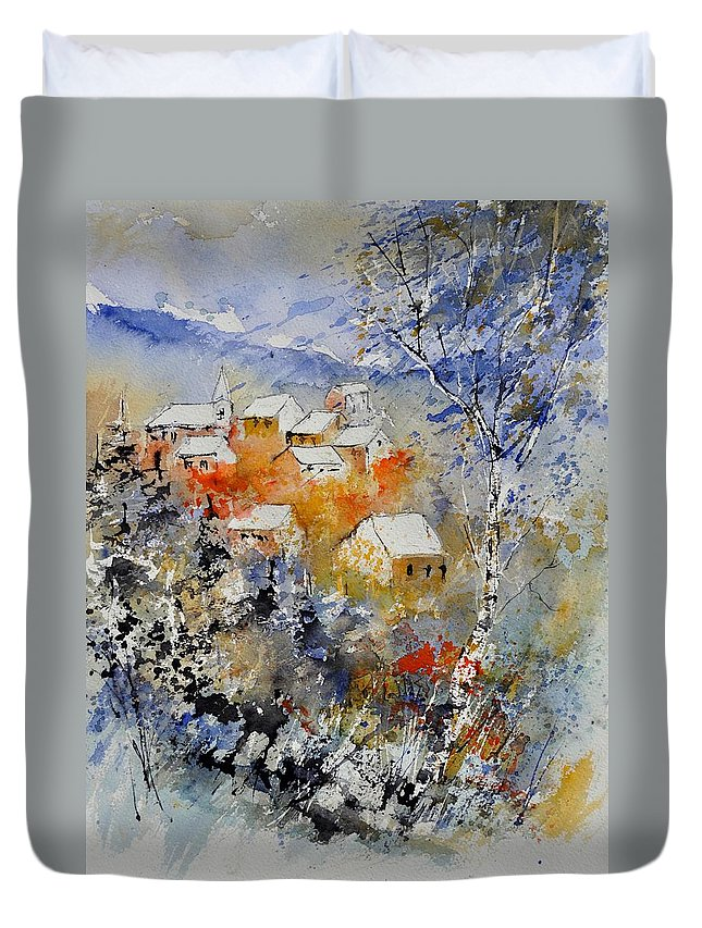 Landscape Duvet Cover featuring the painting Watercolor 314031 by Pol Ledent