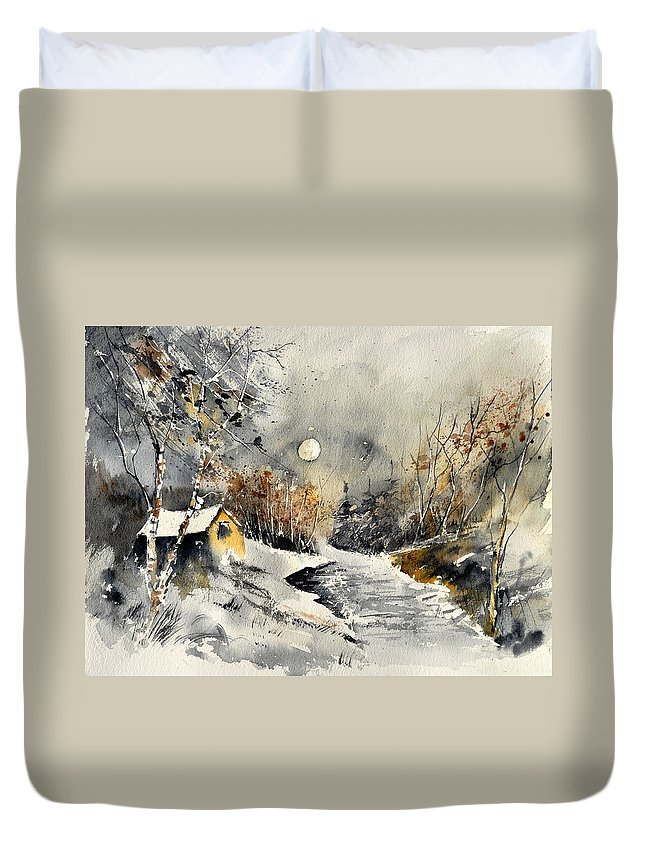 Landscape Duvet Cover featuring the painting Watercolor 317001 by Pol Ledent