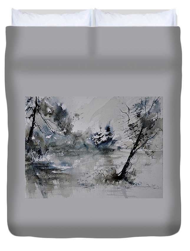 Landscape Duvet Cover featuring the painting Watercolor 413052 by Pol Ledent