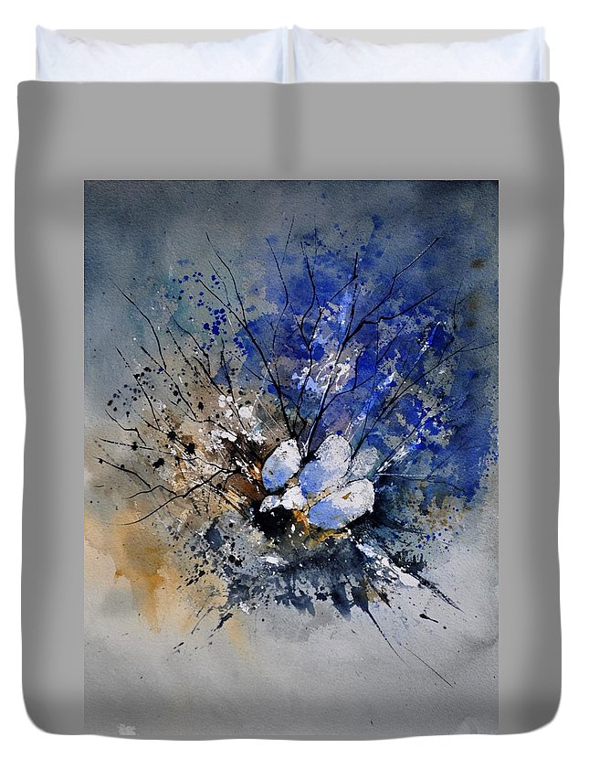 Abstract Duvet Cover featuring the painting Watercolor 415081 by Pol Ledent