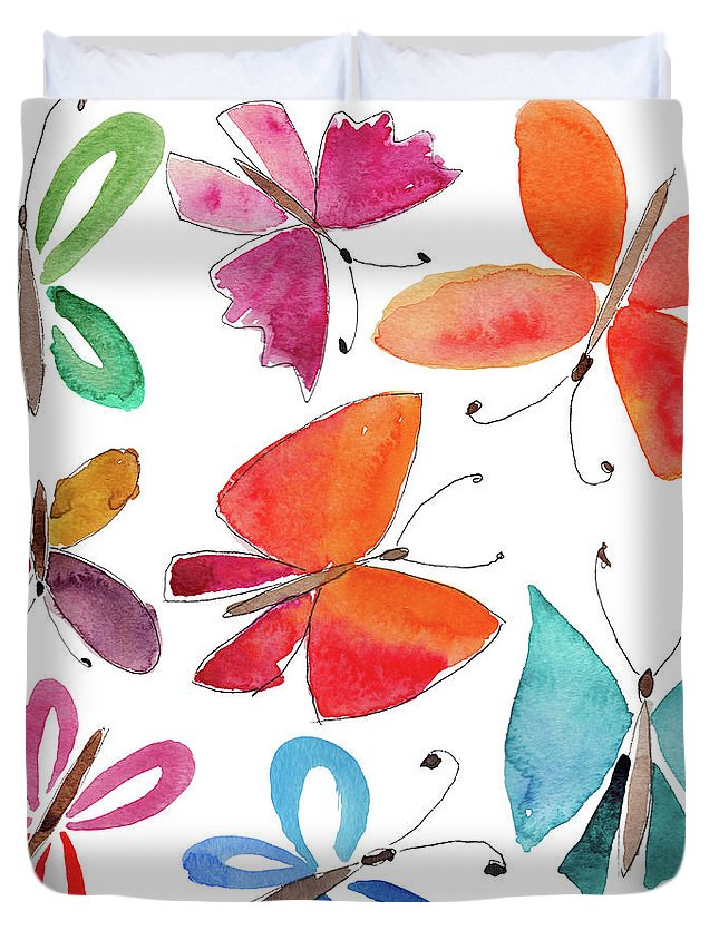 Watercolor Painting Duvet Cover featuring the digital art Watercolor Butterflies by Anndoronina
