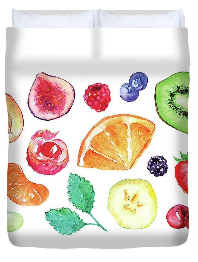 Cherry Duvet Cover featuring the digital art Watercolor Exotic Fruit Berry Slice Set by Silmairel