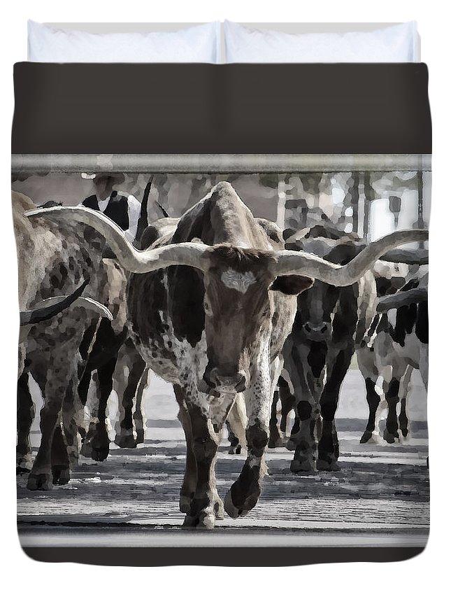 Joan Carroll Duvet Cover featuring the photograph Watercolor Longhorns by Joan Carroll