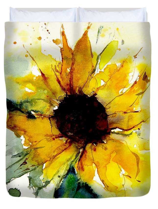 Watercolor Sunflower Duvet Cover For Sale By Annemiek