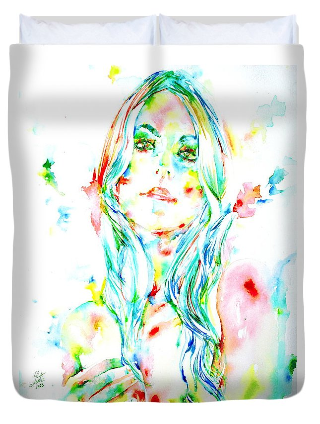Woman Duvet Cover featuring the painting Watercolor Woman.1 by Fabrizio Cassetta