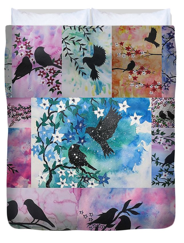 Aquarelle Duvet Cover featuring the painting Watercolour Birds by Cathy Jacobs