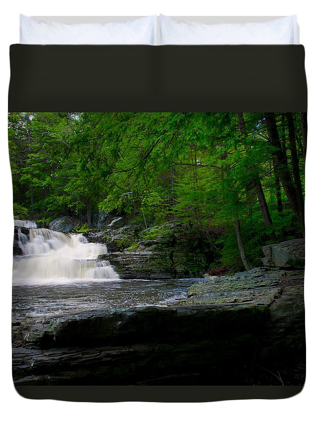 Waterfall Duvet Cover featuring the photograph Waterfall At George W Childs Park by Bill Cannon