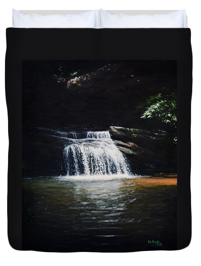 Landscape Duvet Cover featuring the painting Waterfall At Table Rock National Forest by Erik Schutzman