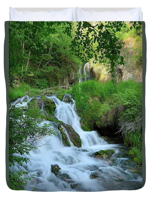 Scenics Duvet Cover featuring the photograph Waterfall In Spearfish Cayon South by Groveb