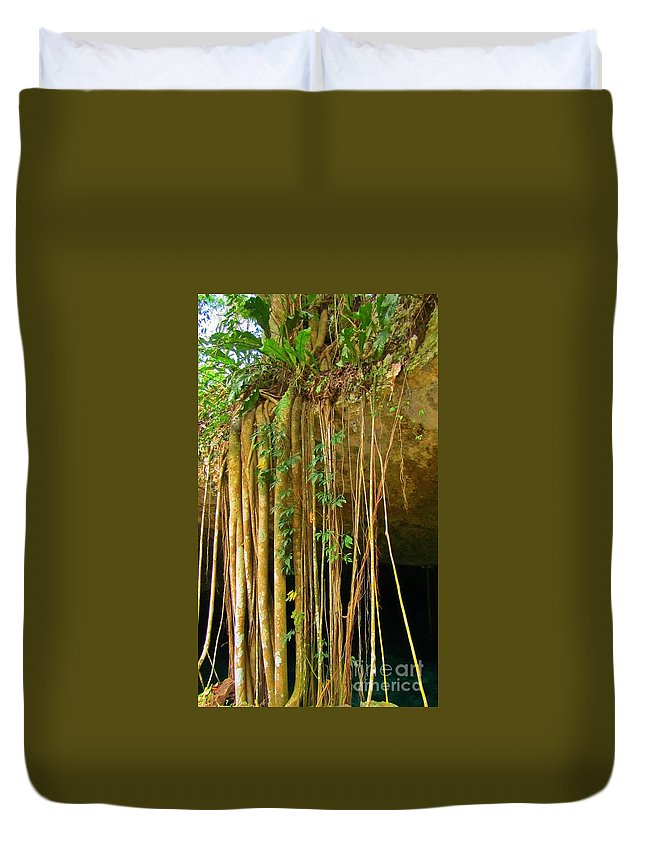 Waterfall Of Jungle Tree Roots Duvet Cover featuring the photograph Waterfall Of Jungle Tree Roots by John Malone
