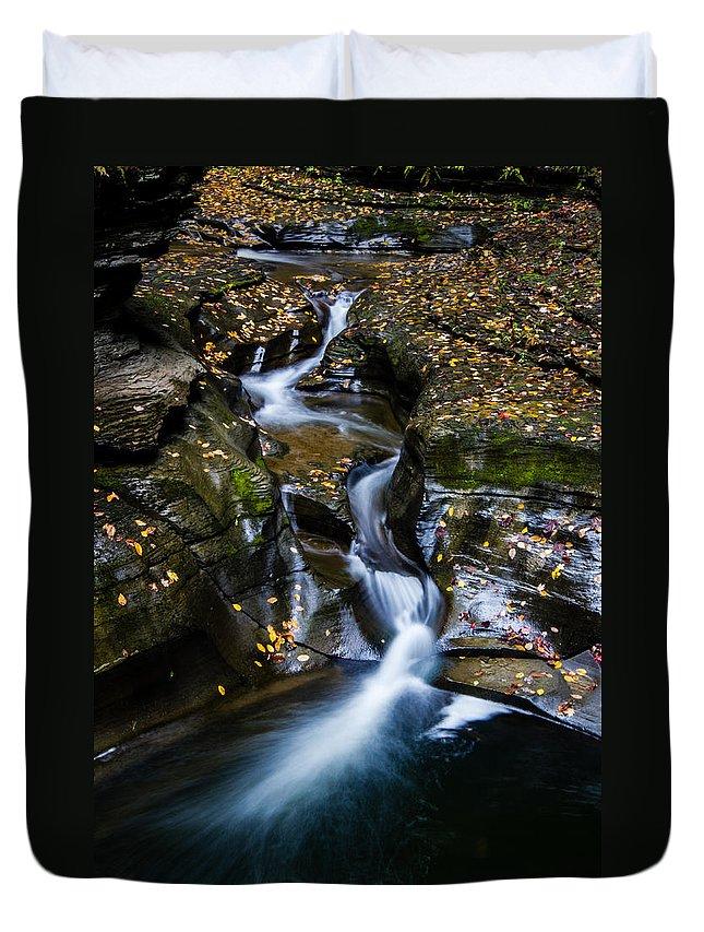 Watkins Glen Duvet Cover featuring the photograph Waterfalls At Watkins Glen by Kaye Seaboch