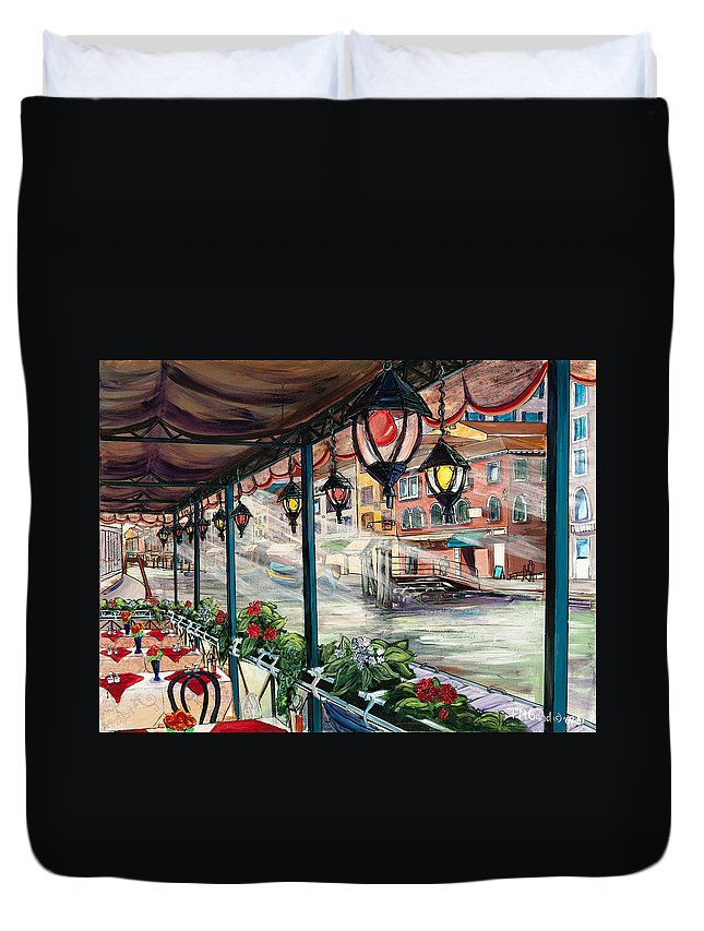 Tmgand Duvet Cover featuring the painting Waterfront Cafe by TM Gand