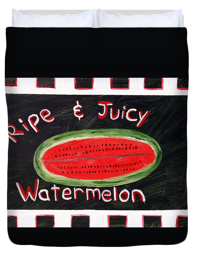 Country Duvet Cover featuring the painting Watermelon Market Sign by Maura Satchell