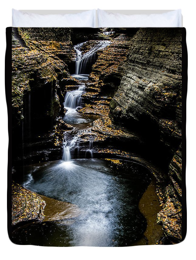 Watkins Glen Duvet Cover featuring the photograph Watkins Glen Waterfalls by Kaye Seaboch