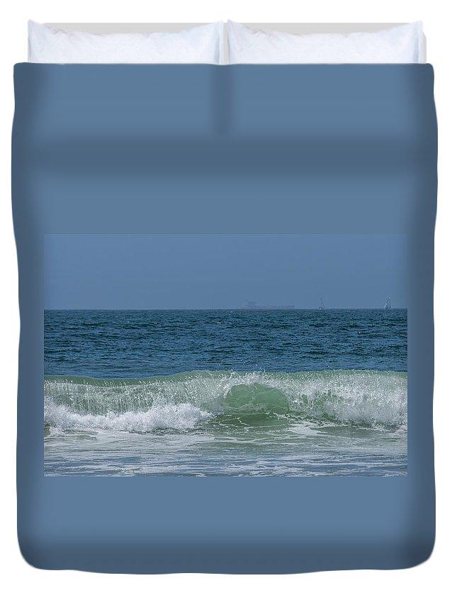 Beaches Duvet Cover featuring the photograph Wave At Seal Beach by Ernie Echols