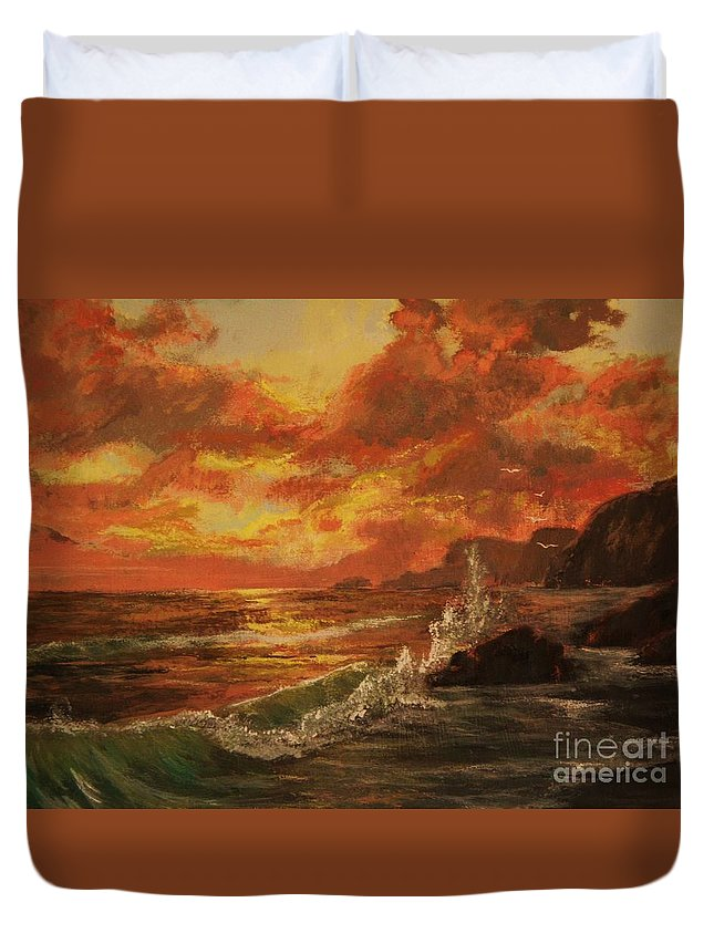 Ocean Duvet Cover featuring the painting Wave Crash by Vanessa Palomino
