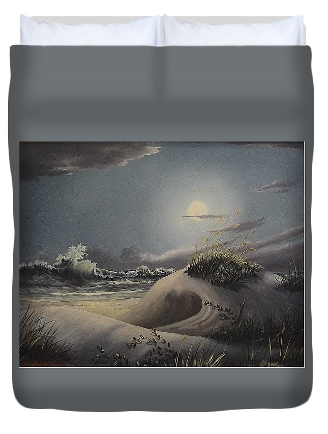 Landscape Duvet Cover featuring the painting Waves And Moonlight by Wanda Dansereau