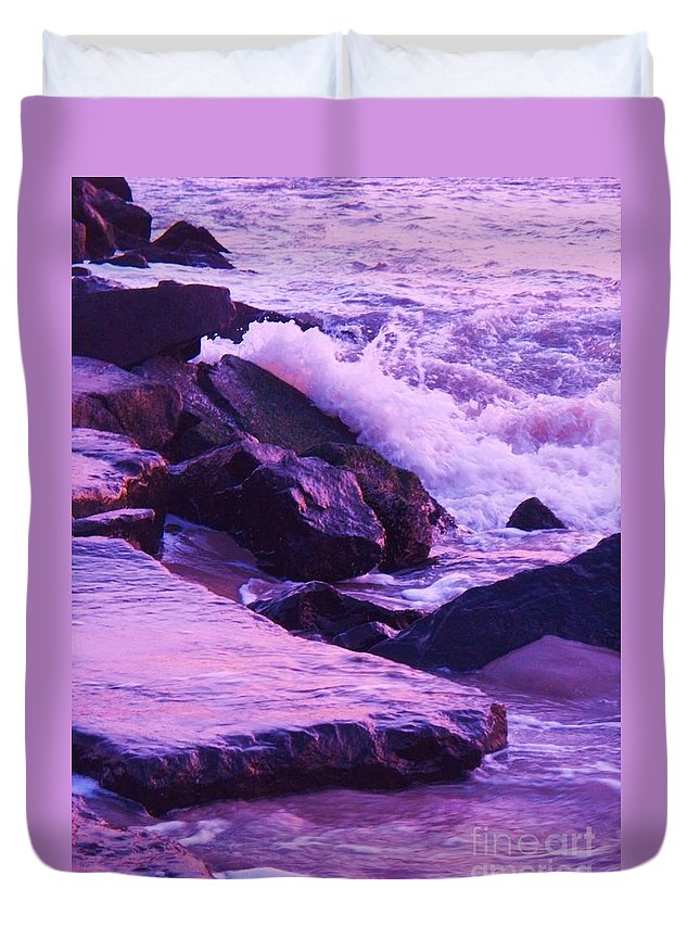Wave Duvet Cover featuring the photograph Waves Breaking On Jetties by Eric Schiabor