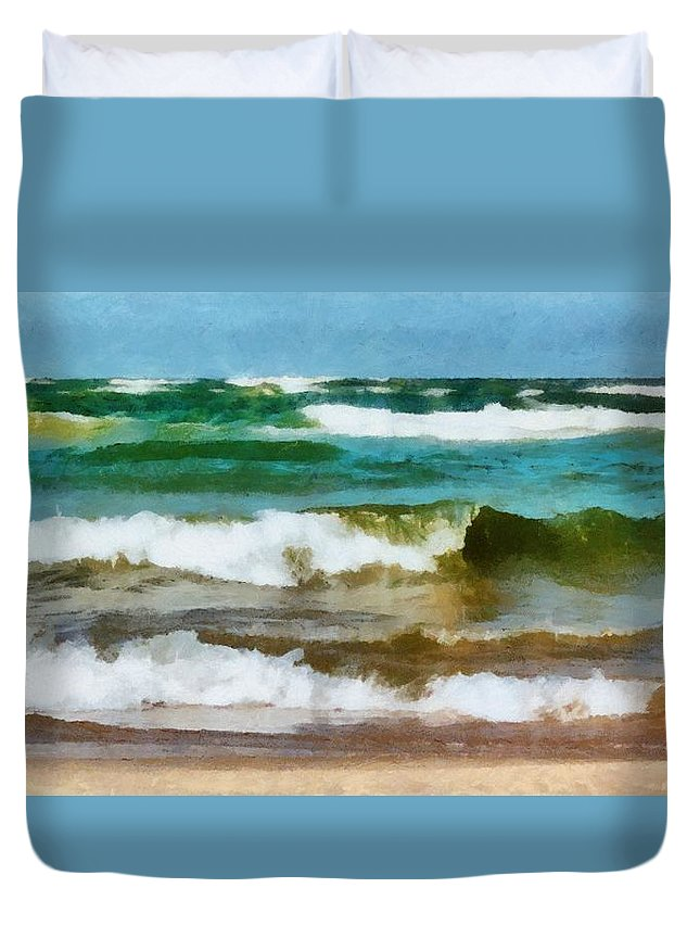 Lake Michigan Duvet Cover featuring the photograph Waves Crash by Michelle Calkins