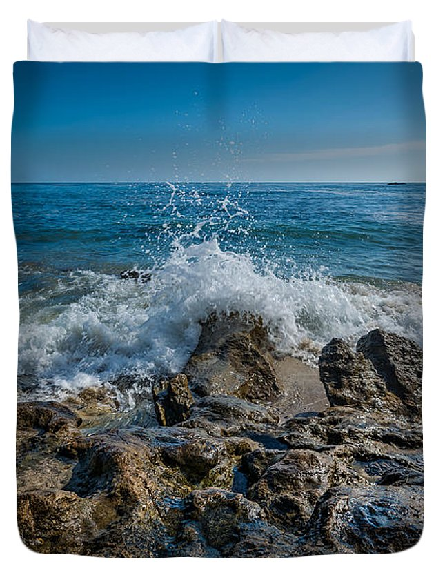 Rushing Water Duvet Cover featuring the photograph Waves Crashing by Michael Ver Sprill