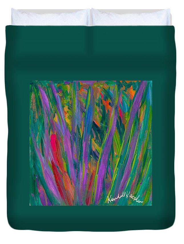 Abstract Duvet Cover featuring the painting Waving by Kendall Kessler