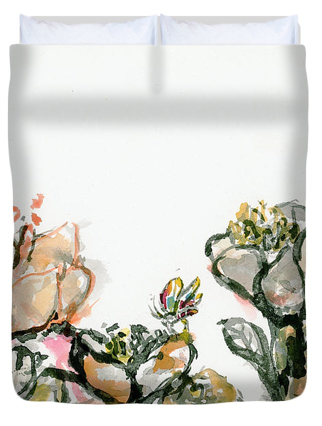 Flower Duvet Cover featuring the painting Wavy Flowers by Sevastianos Maillis