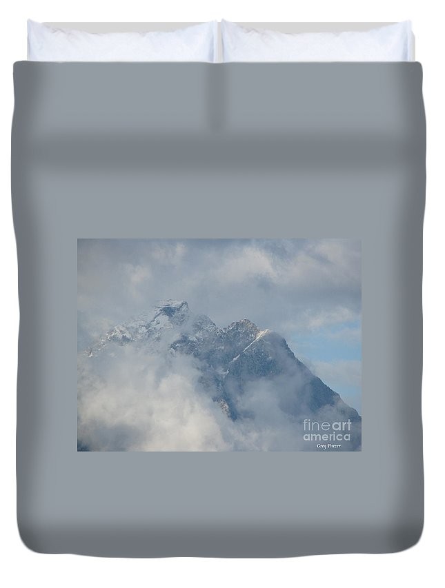 Patzer Duvet Cover featuring the photograph Way Up Here by Greg Patzer