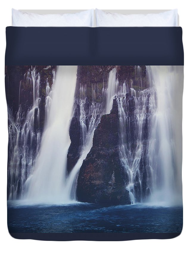 Burney Falls State Park Duvet Cover featuring the photograph We All Fall Down Sometimes by Laurie Search