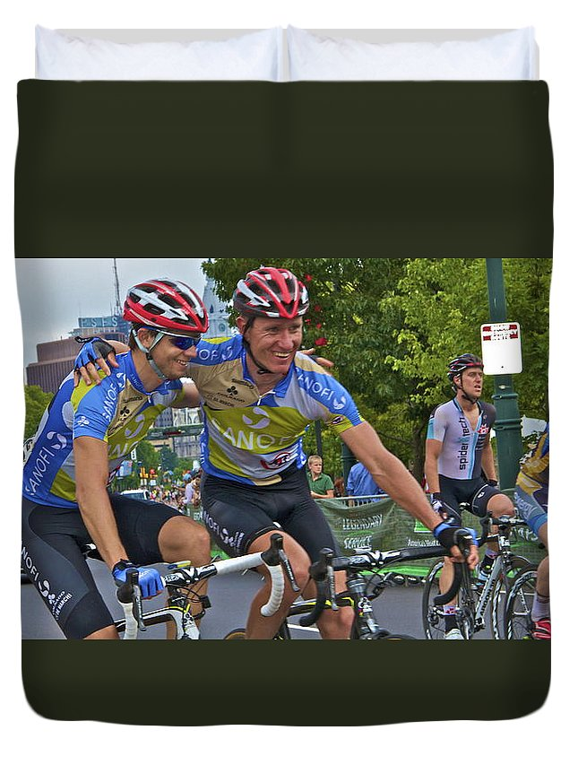 Philadelphia Biking Td Bank Race International Championship 2012 Winners Embracing Duvet Cover featuring the photograph We Are The Winners by Alice Gipson