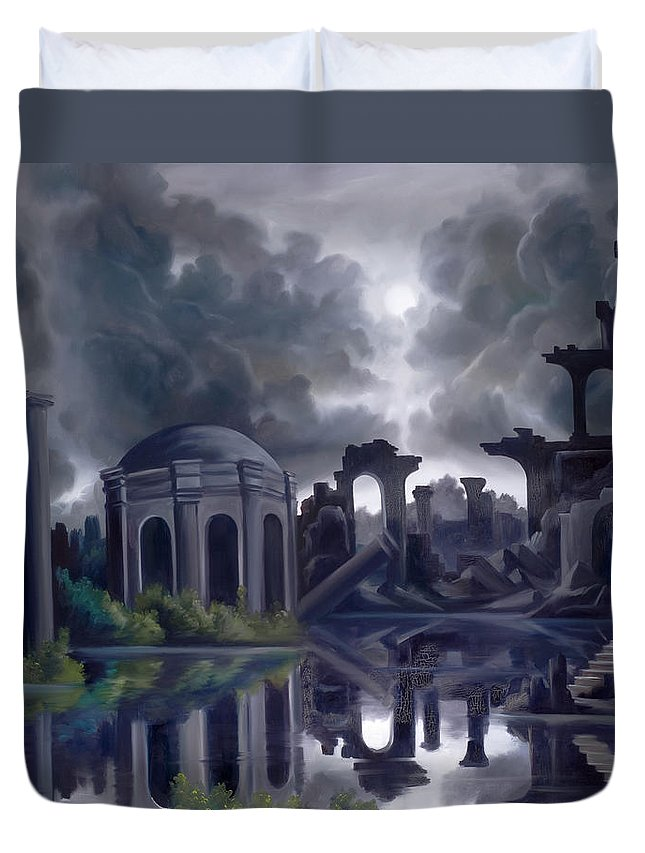 Ruins Duvet Cover featuring the painting We Lost Our Empire A Long Time Ago by James Christopher Hill