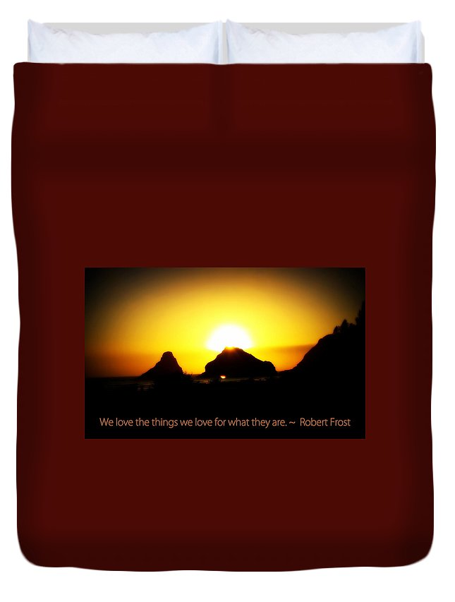 Sunset Duvet Cover featuring the photograph We Love The Things We Love by Kathy Sampson