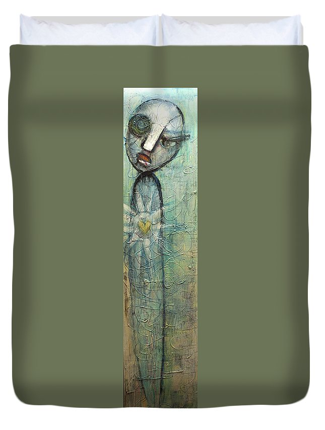 Figurative Duvet Cover featuring the painting We Stand Alone by Laurie Maves ART