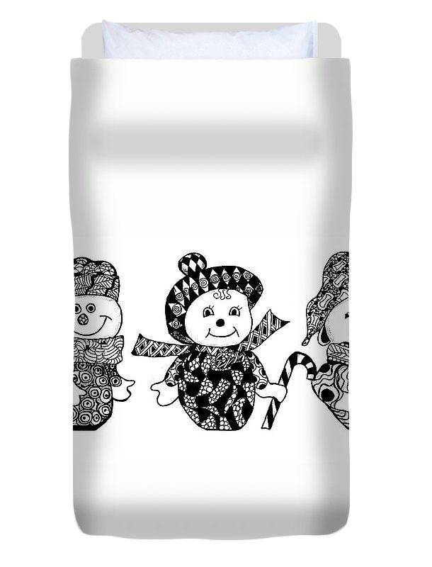 Snowman Duvet Cover featuring the drawing We Three Glee by Jo-Anne Gazo-McKim