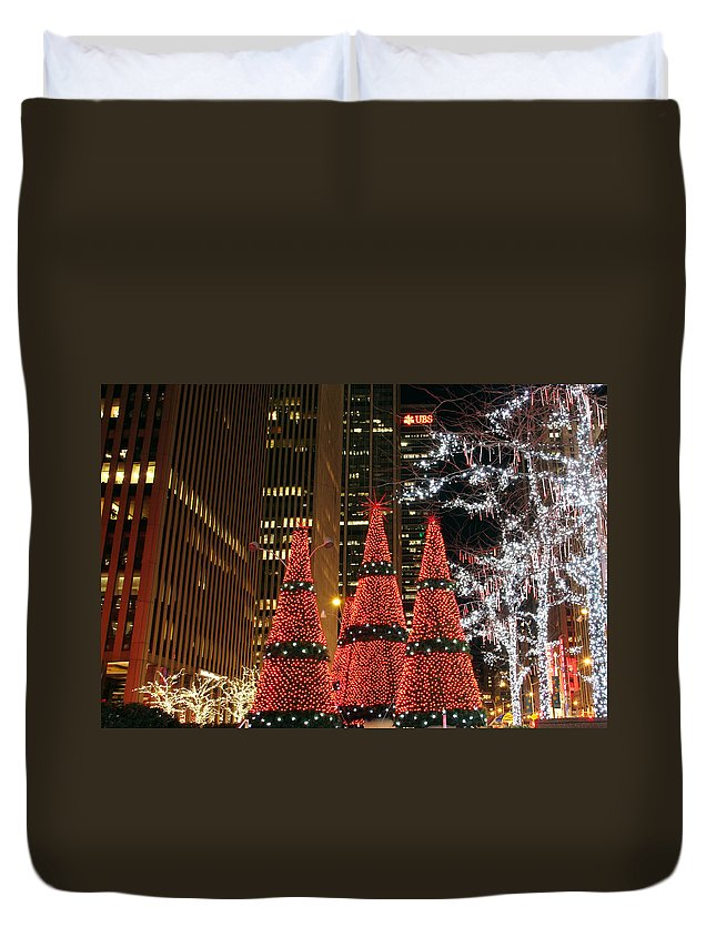 Christmas Trees New York City Night View Duvet Cover featuring the photograph We Three Trees by Alice Gipson