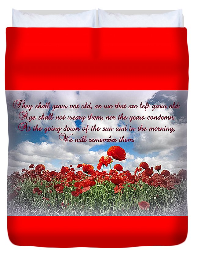 Poppy Duvet Cover featuring the photograph We Will Remember Them... by The Creative Minds Art and Photography