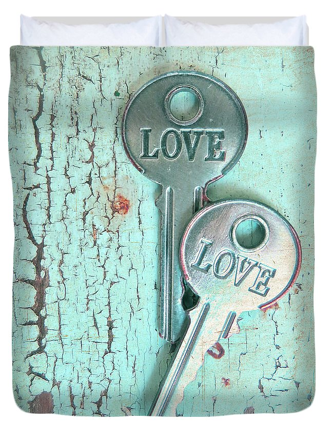 Old Keys Duvet Cover featuring the photograph Weathered Love by Angie Mahoney