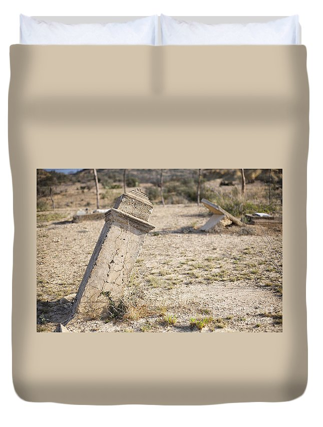 Old Cemetery Duvet Cover featuring the photograph Weathered Remains by Erika Weber