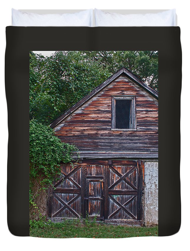 Wood Duvet Cover featuring the photograph Weathered Wood by Michael Porchik