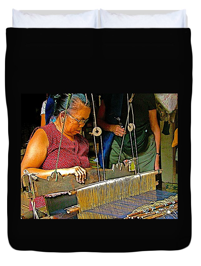 Weaver At Her Loom In Tachilek Duvet Cover featuring the photograph Weaver At Her Loom In Tachilek-burma by Ruth Hager