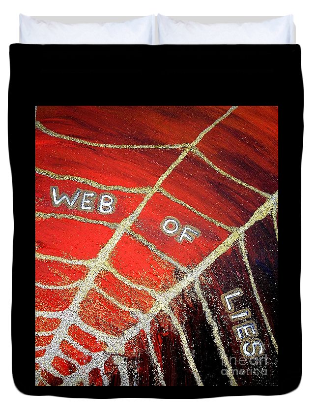 Web Of Lies Duvet Cover featuring the painting Web Of Lies by Karen Jane Jones