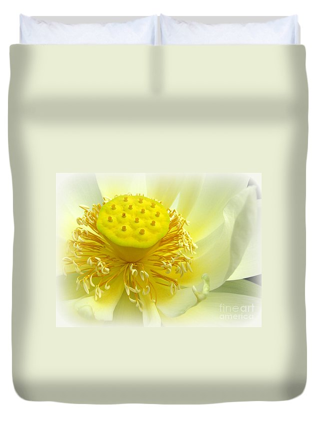 Lotus Lily Duvet Cover featuring the photograph Tranquil Beginnings by C Ray Roth