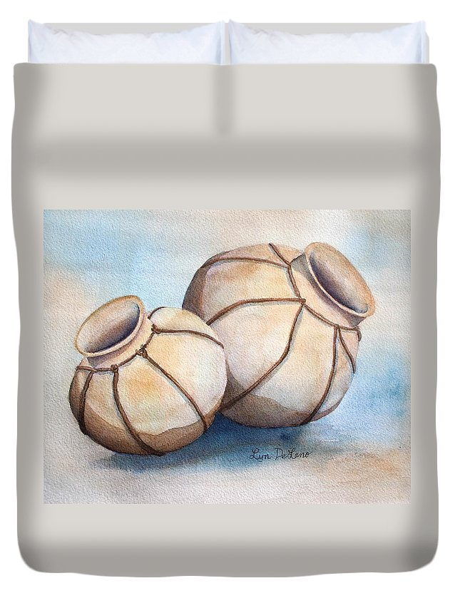 Pottery Duvet Cover featuring the painting Wedding Ollas by Lyn DeLano