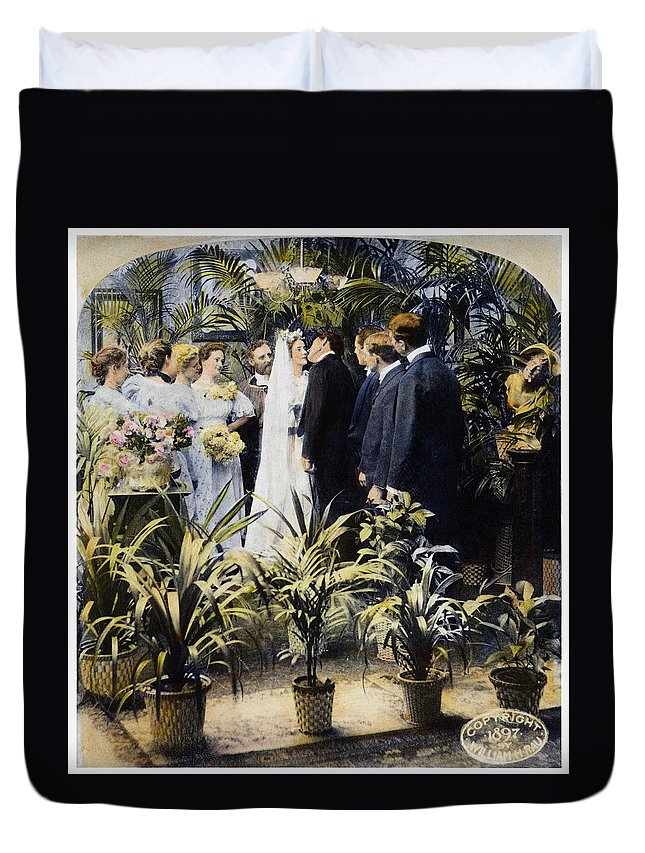 1897 Duvet Cover featuring the photograph Wedding Party, 1897 by Granger