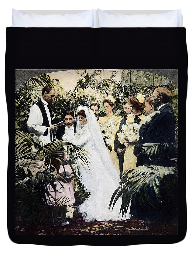 1900 Duvet Cover featuring the photograph Wedding Party, 1900 by Granger