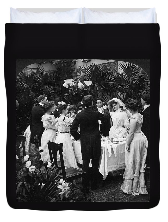 1904 Duvet Cover featuring the photograph Wedding Party, 1904 by Granger