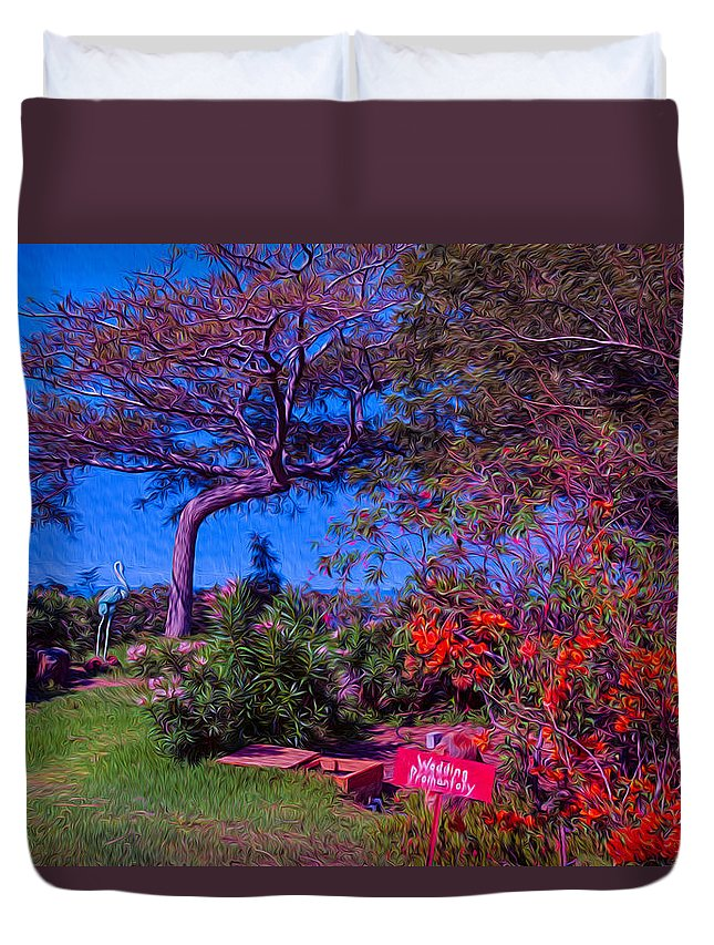 Tropical Duvet Cover featuring the painting Wedding Promontory by Omaste Witkowski